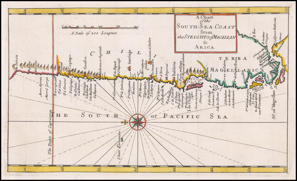 A Chart of the South Sea Coast from Steights of Magellan to Arica By Herman Moll