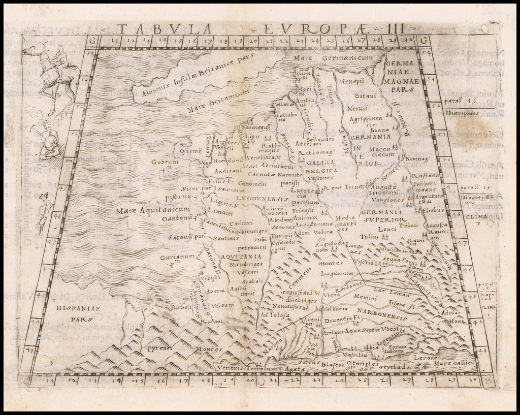 [France] Europae Tabula III   By Giacomo Gastaldi