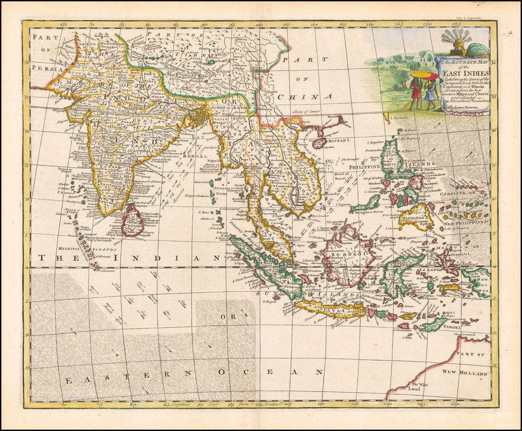 An Accurate Map of the East Indies Exhibiting the Course of the European Trade both on the Continent and Islands . . .  By Emanuel Bowen