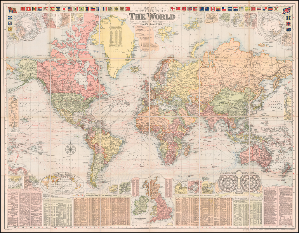 Bacon's New Chart of The World Mercator's Projection.  By G.W. Bacon F.R.G.S. By G.W. Bacon & Co.