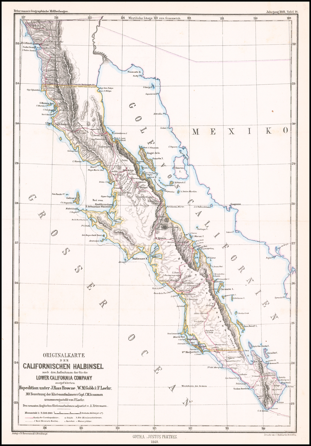 Originalkarte Der Californischen Halbinsel nach den Aufnachmen der fur die Lower California Company ausgefurthen Expedition unter J. Ross Brown, W.M. Gabb & F. Loeher . . . By Augustus Herman Petermann