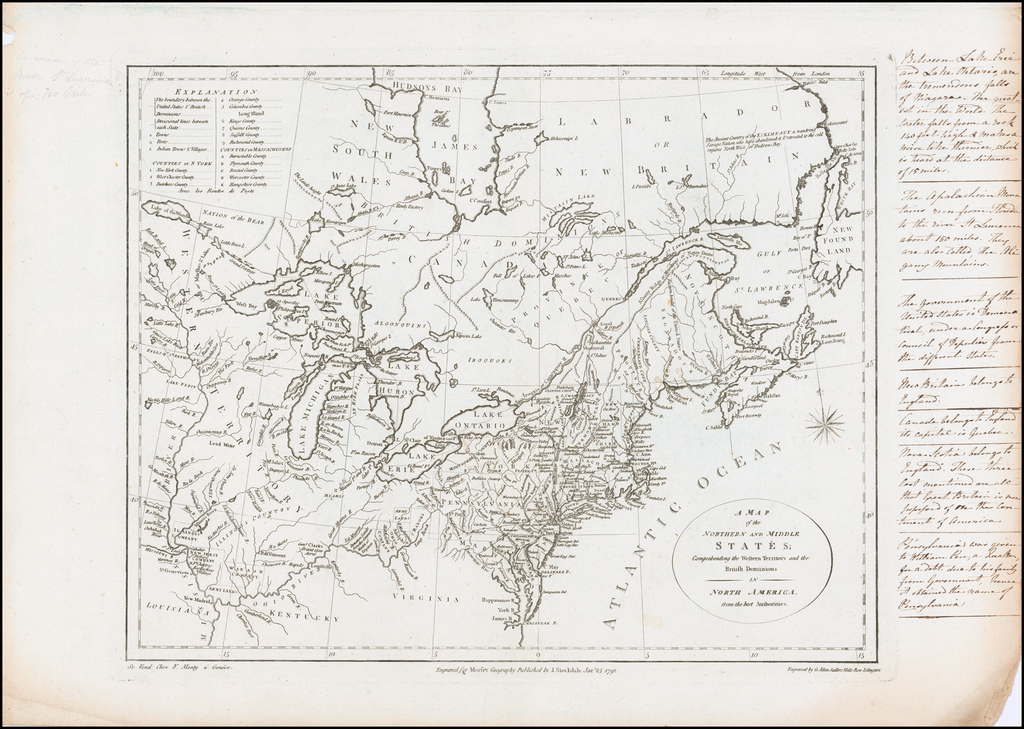 A Map of the Northern and Middle States; Comprehending Western Territory and the British Dominions in North America from the best Authorities [With Extensive Hand Written Notes] By John Stockdale / Jedidiah Morse