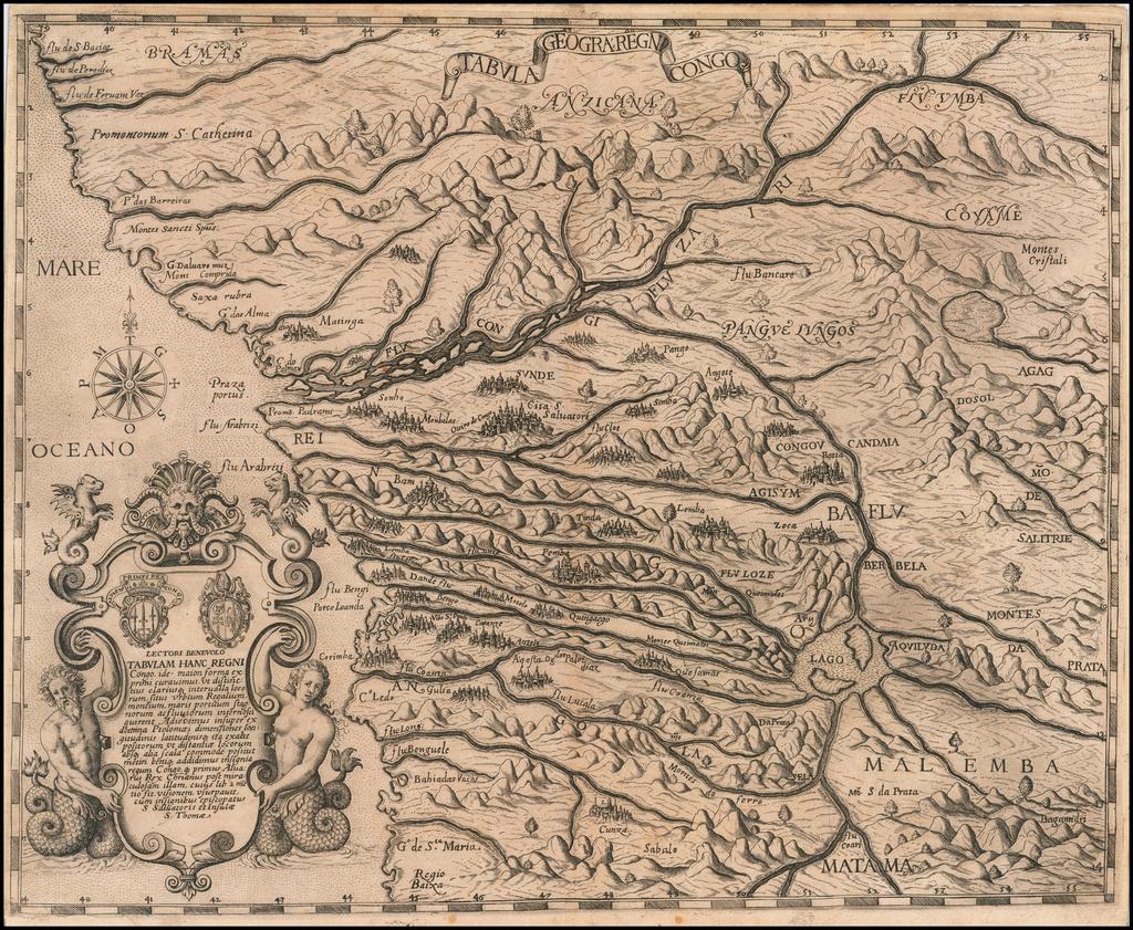 Tabula Geogra: Regni Congo  By Theodor De Bry / Filippo Pigafetta
