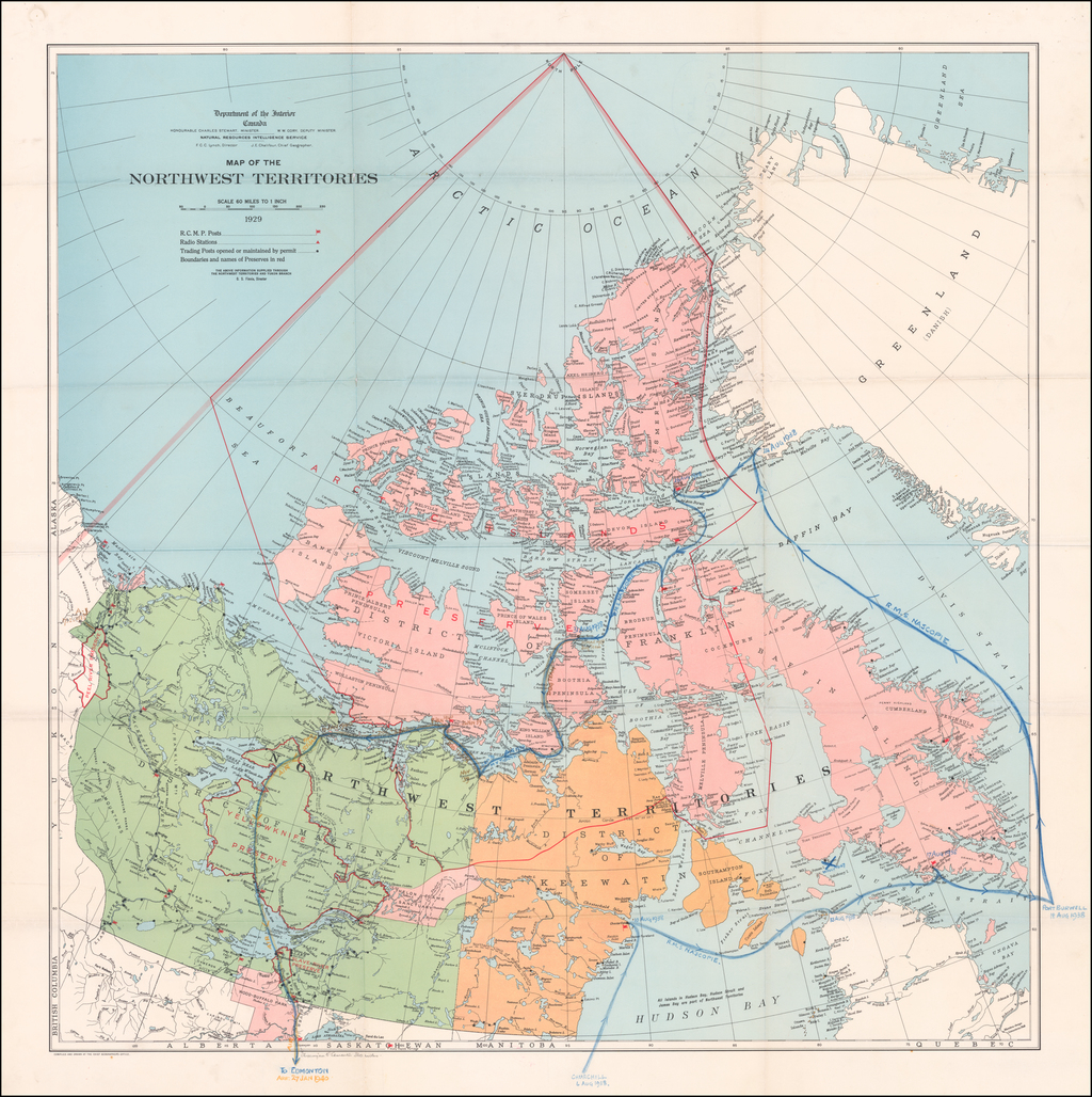 [Route of the 1938 Westward Northwest Passage Cover]  Map of the Northwest Territories 1929 By Canadian Department of the Interior