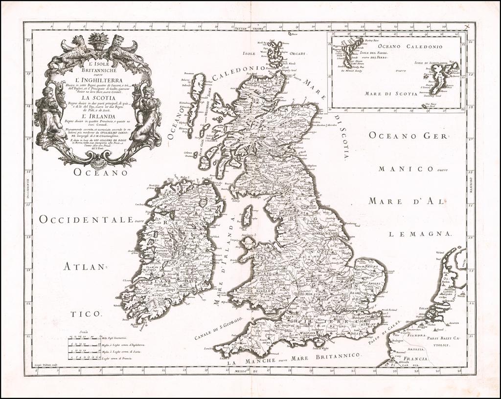L'Isole Britanniche ouvero L'Inghilterra Divisa in sette Regni, quattro de Sassoni, e Tre  dell Inglesi, et il Principato di Galles. . . 1677 By Giacomo Giovanni Rossi - Giacomo Cantelli da Vignola