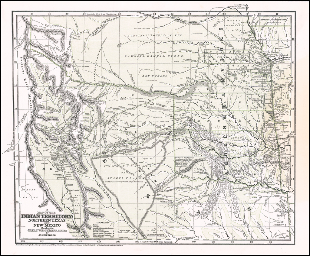 Map Of Texas New Mexico.A Map Of The Indian Territory Northern Texas And New Mexico Showing