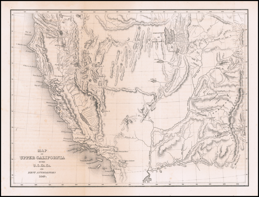 Map of Upper California By The U.S. Ex. Ex. And Best Authorities 1849 By Charles Wilkes / U.S.Ex.Ex.
