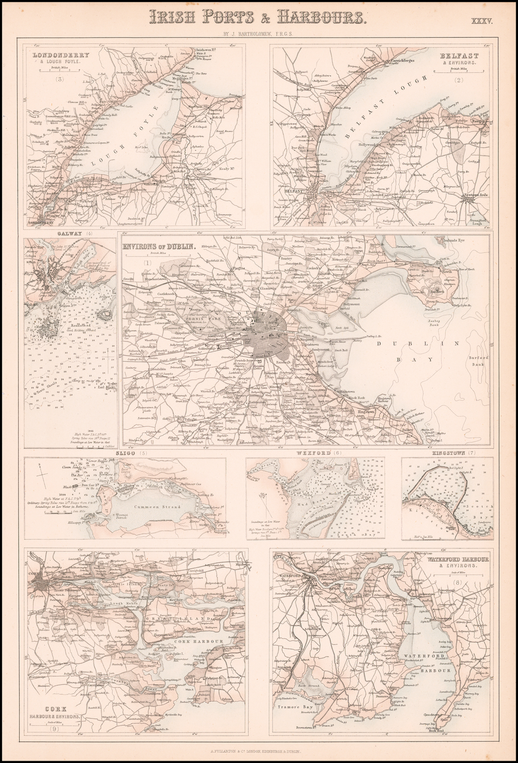 Irish Ports and Harbours (Dublin, Belfast, Londonderry, Galway, Sligo, Wexford, Kingstown, Cork and Waterford) By Archibald Fullarton & Co.