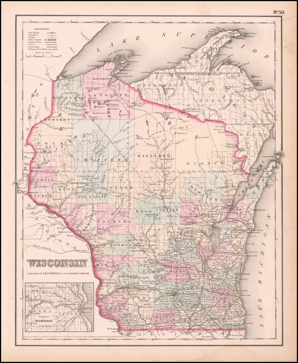 Wisconsin By Joseph Hutchins Colton