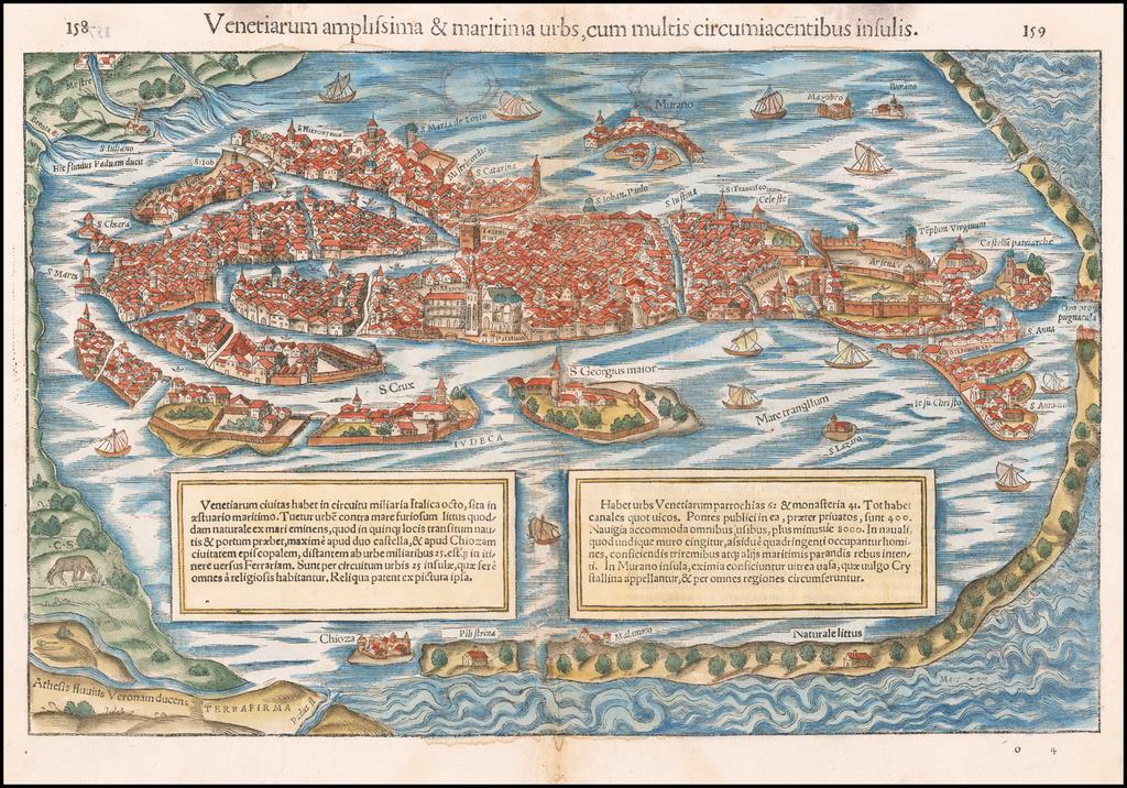 Venetiarum amplissma & maritima urbs cum multis circumiacentibus insulis. By Sebastian Münster