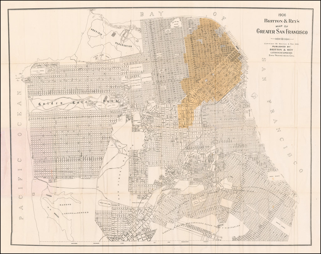 1906 Britton & Rey's Map of Greater San Francisco Showing Burned District By Britton & Rey
