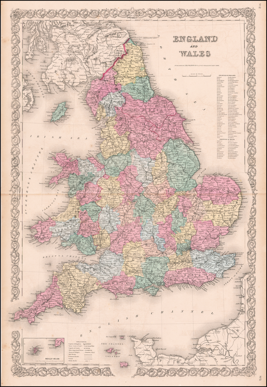 Colton's England and Wales By Joseph Hutchins Colton