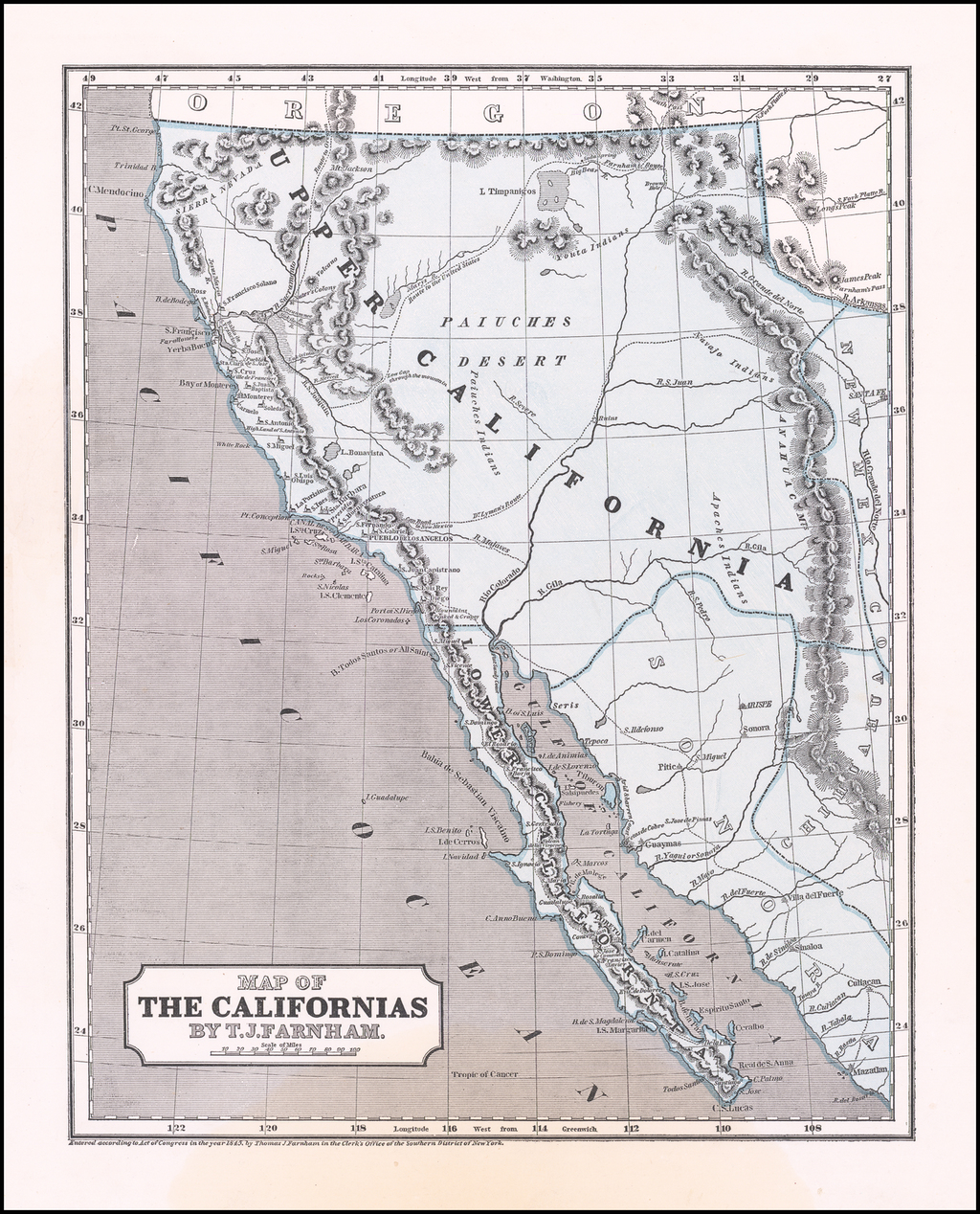 Map of the Californias By T.J. Farnham By Sidney Morse  &  Samuel Breese