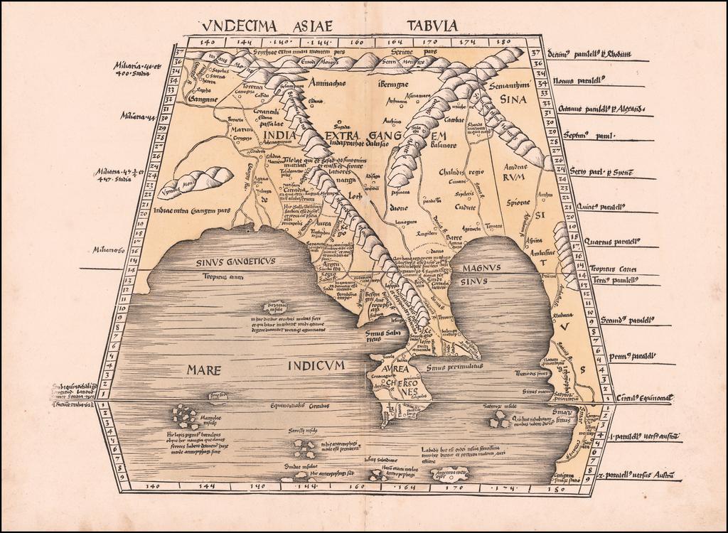 Undecima Asiae Tabula (Southeast Asia, China and India) By Martin Waldseemüller
