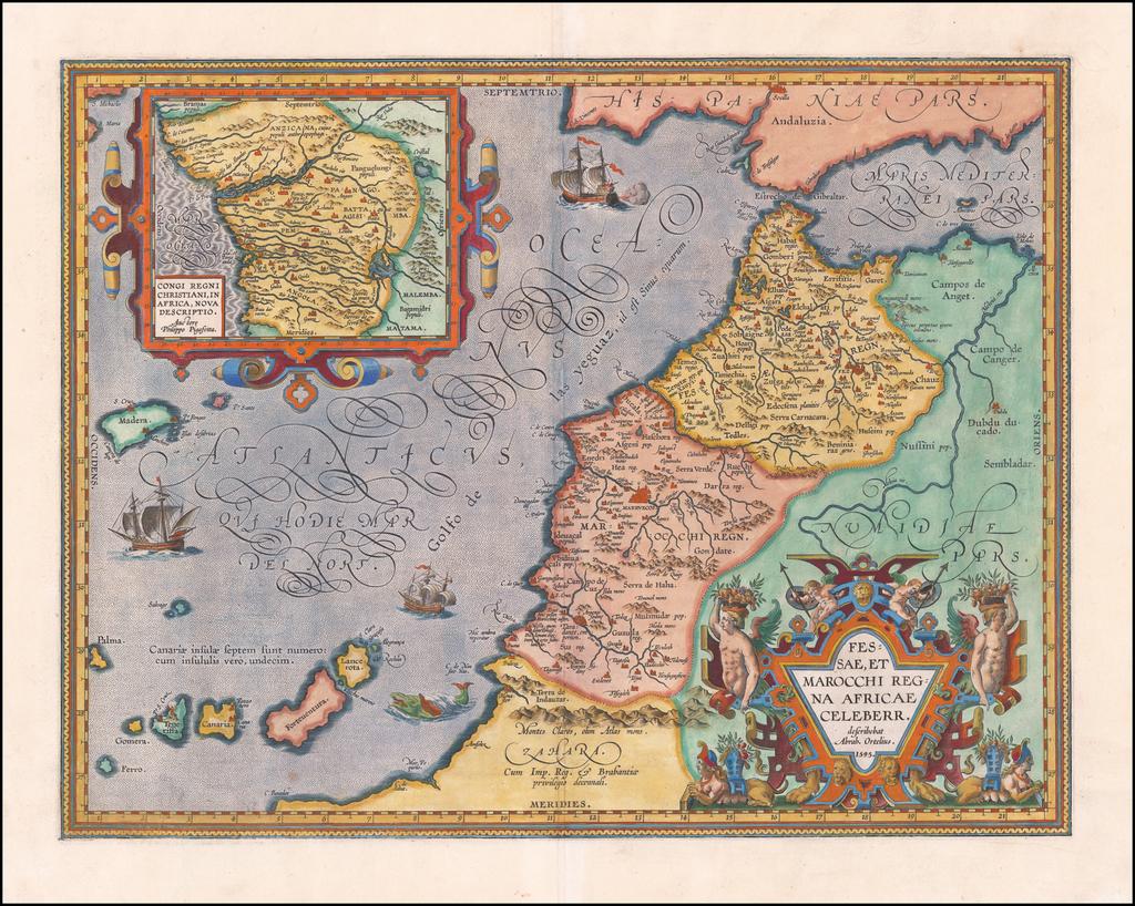 Fessae, et Marocchi Regna Africae Celeberr. describebat Abrah. Ortelius. 1595 [with large inset of West Africa] By Abraham Ortelius