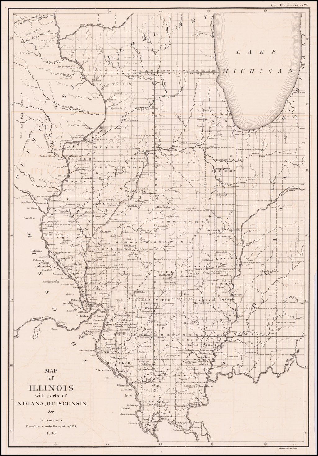 Map of the Northern parts of Ohio, Indiana and Illinois with Michigan and that part to the Ouisconsin Territory Lying East of the Mississippi River . . .  1836 By David Hugh Burr