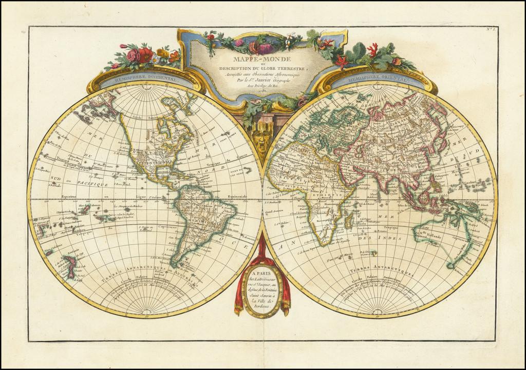 Mappe-Monde ou Description Du Globe Terrestre . . . 1782 By Jean Lattre