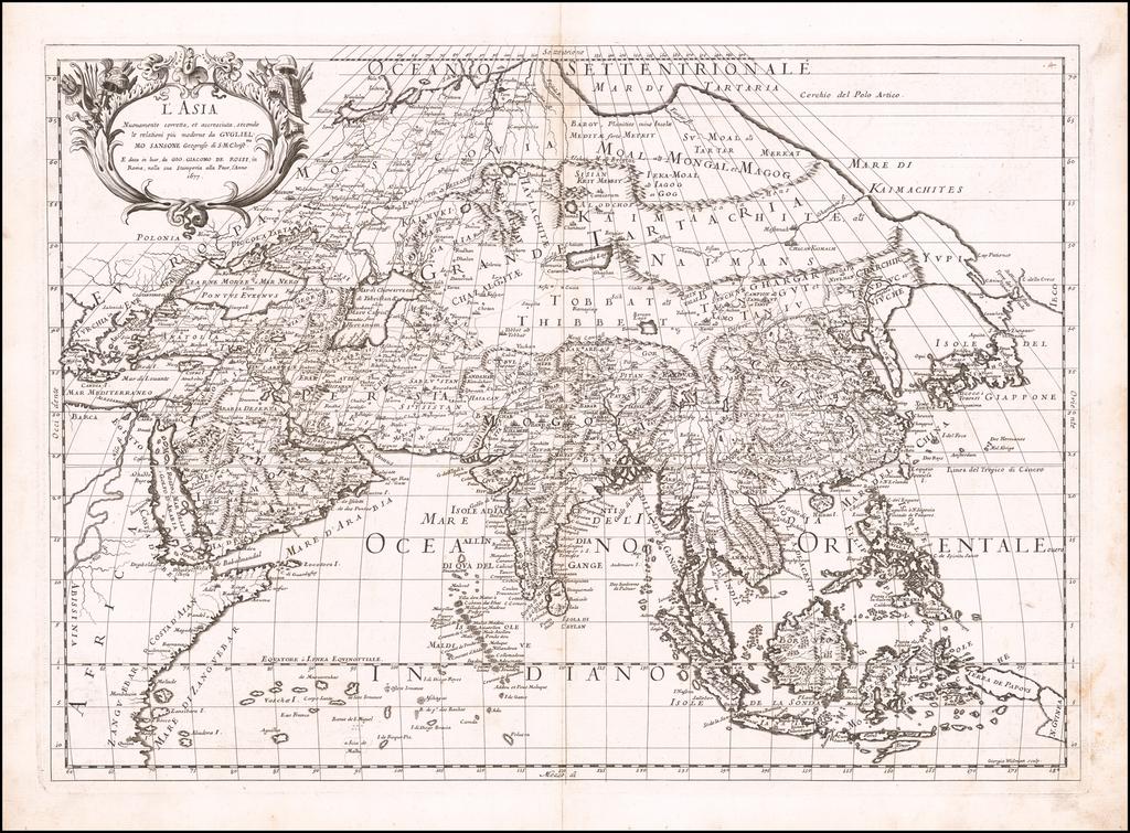L'Asia Nuovamente corretta et accresciuta, secondo le relationi piu moderne da Guglielmo Sansone . . . 1677 By Giacomo Giovanni Rossi