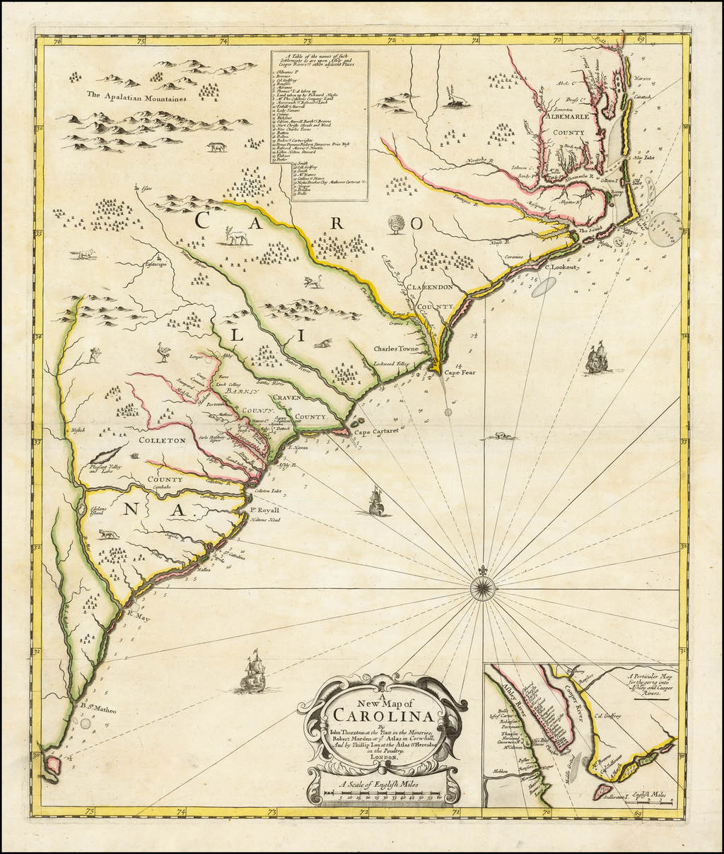 A New Map of Carolina By Iohn Thornton at the Platt in the Minories, Robert Morden at ye Atlas in Cornhill, And by Phillip Lea at the Atlas & Hercules in the Poultry, London. By Robert Morden  &  Philip Lea  &  John Thornton