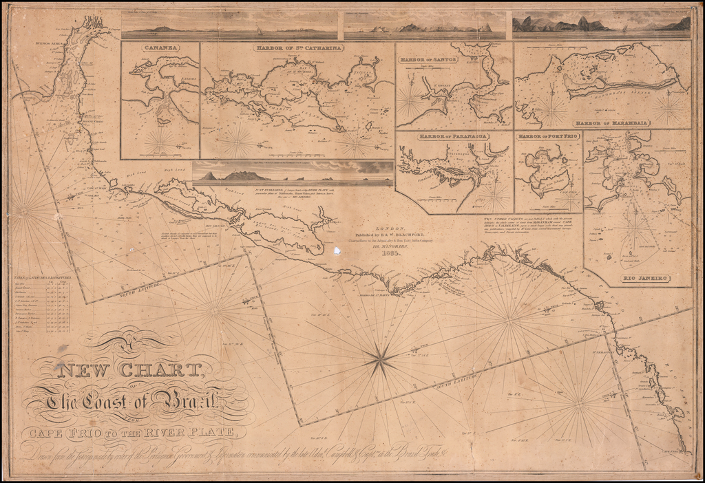 A New Chart of The Coast of Brazil From Cape Frio to the River Plate, Drawn from the Surveys made by order of the Portugese Government & Information communicated by the late Adml. Campbell & Captns. of the Brazil Trade &c. By Blachford & Co.