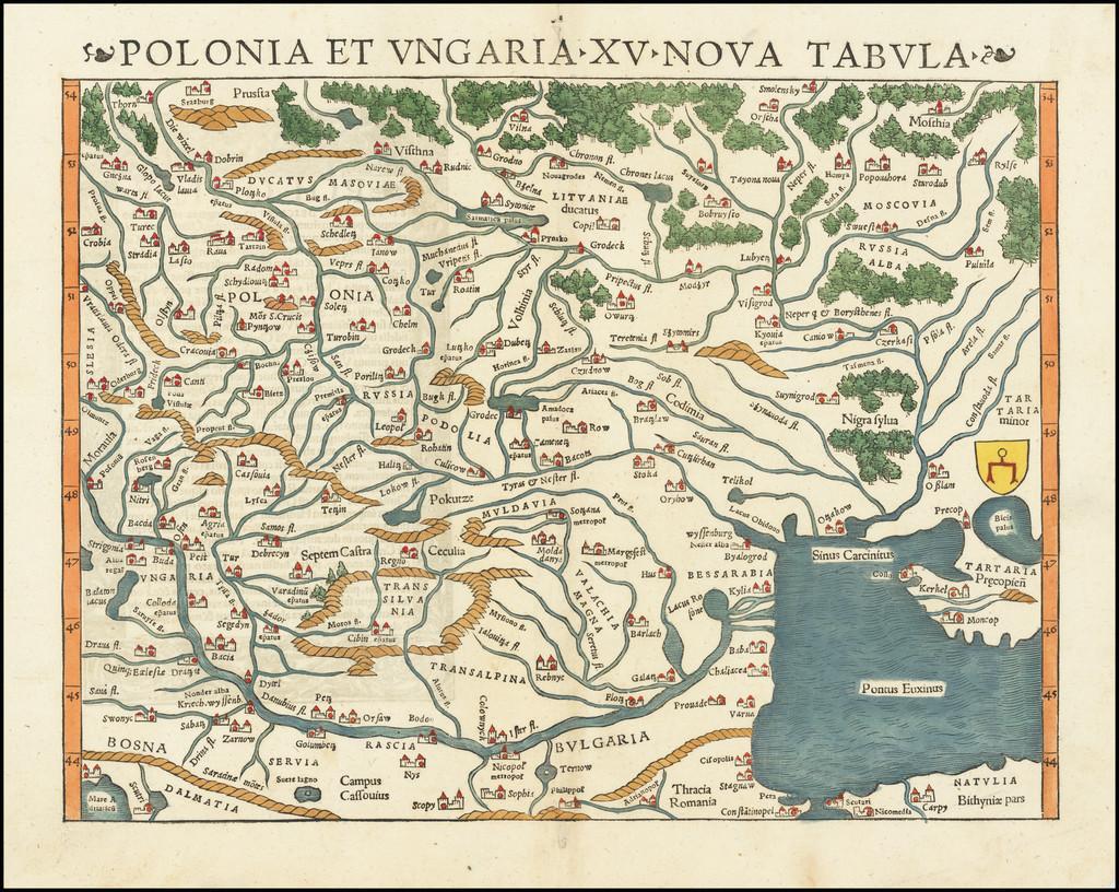 Polonia et Ungaria XV Nova Tabula By Sebastian Münster