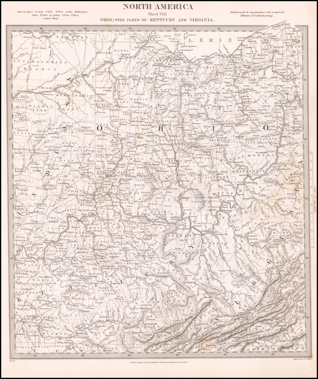 North America Sheet VIII Ohio, With Parts Of Kentucky And Virginia By SDUK