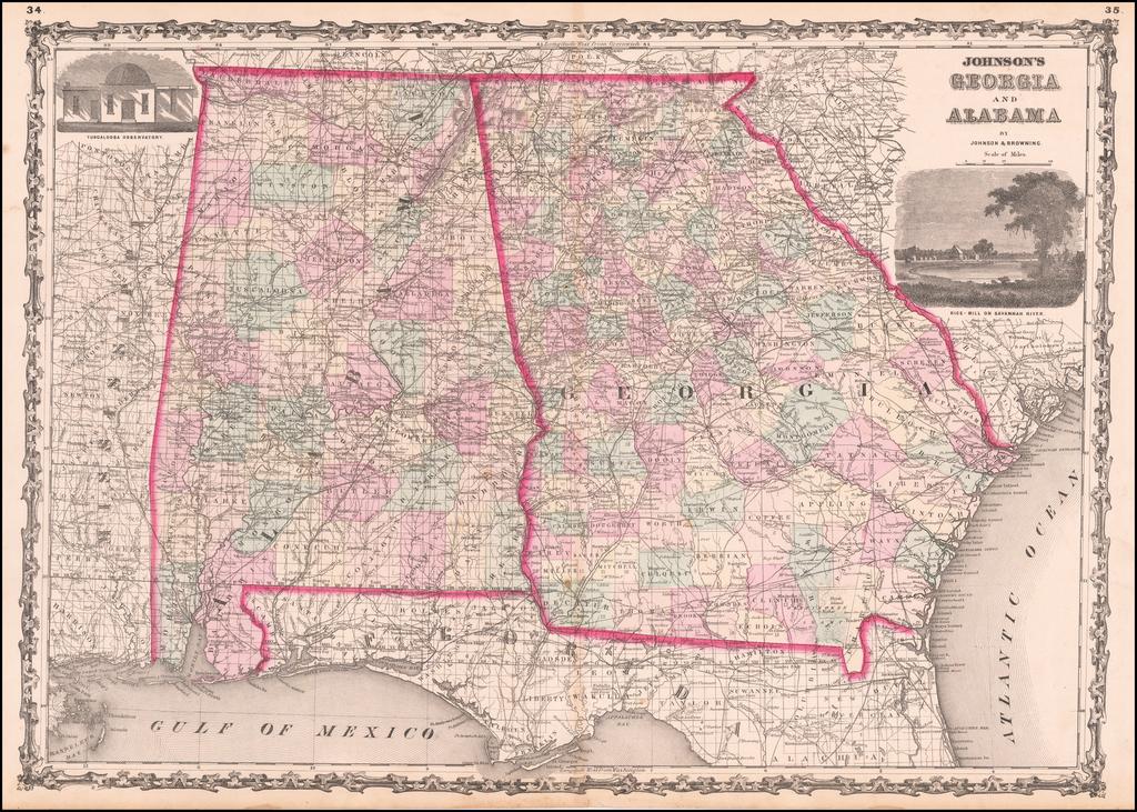 Johnson's Georgia and Alabama By Benjamin P Ward  &  Alvin Jewett Johnson