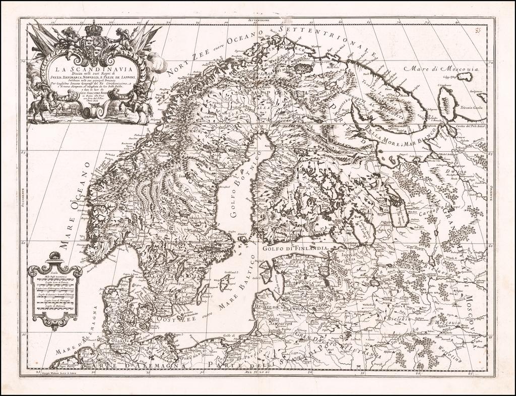 La Scandinavia Divisa nelli suo Regni di Suezia, Danimarca, Norvegia, e Paesi Lapponi . . . 1678 By Giacomo Giovanni Rossi