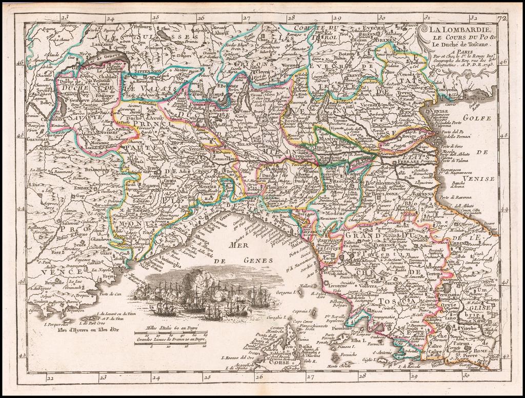 La Lombardie Le Curs Du Po &c. Le Duche de Toscane . . . 1743 By George Louis Le Rouge
