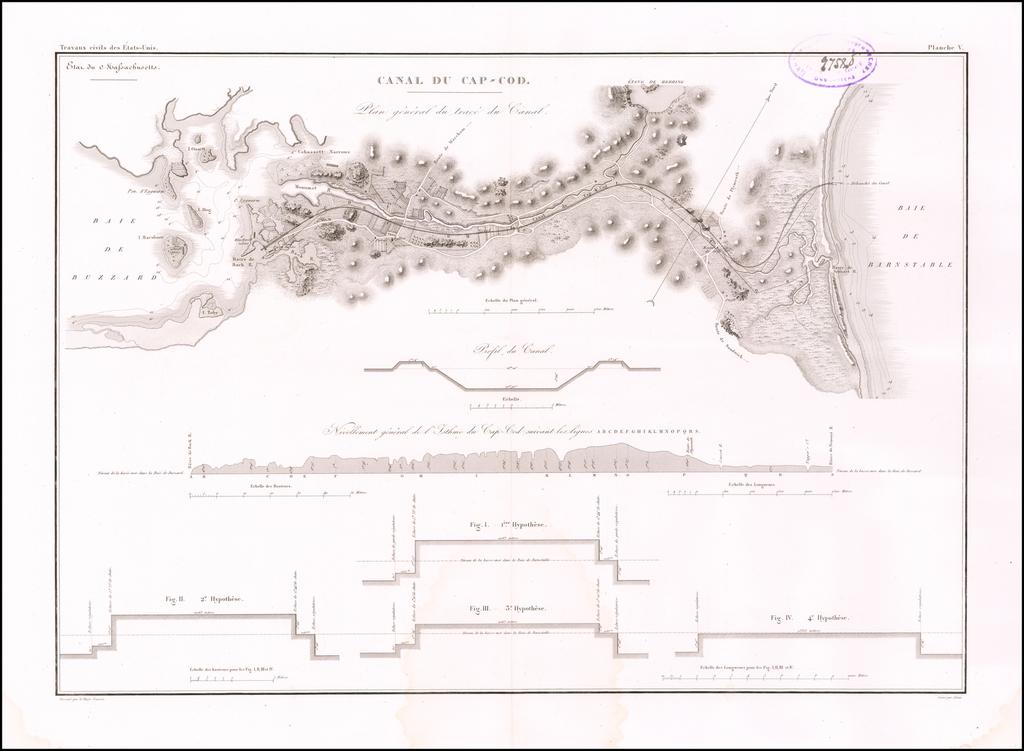 Canal Du Cap-Cod Plan du trace et Profils du Canal By Guillaume-Tell Poussin