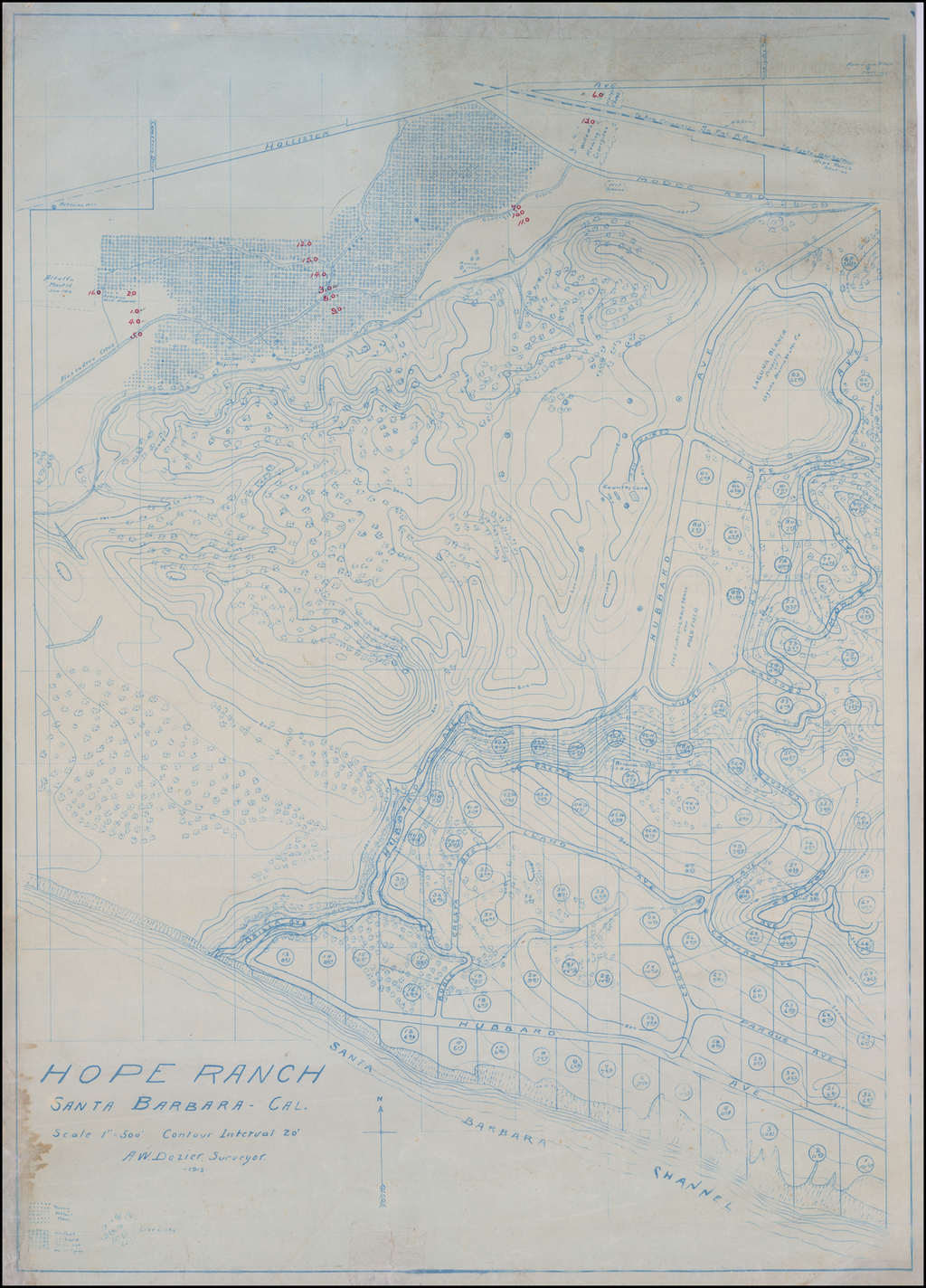 Hope Ranch Santa Barbara - Cal. . . . A.W. Dozier Surveyor. -1913- By A.W. Dozier