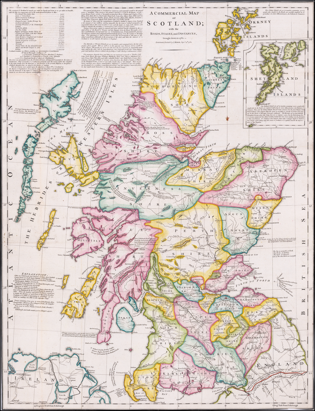 A Commercial Map of Scotland; with the Roads, Stages, and Distances, brought down to 1782 By J. Knox