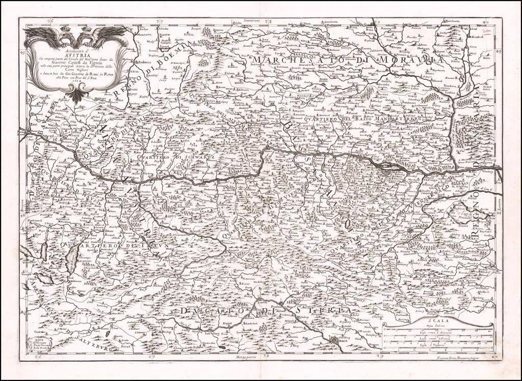 Arciducato d' Austria che compone parte Circulo de Medo: nome diviso . . .  1684 By Giacomo Giovanni Rossi