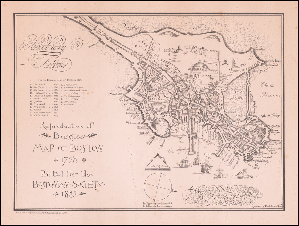 Reproduction of Burgiss Map of Boston 1728 Printed for the Bostonian Society 1885 By Thomas Johnson