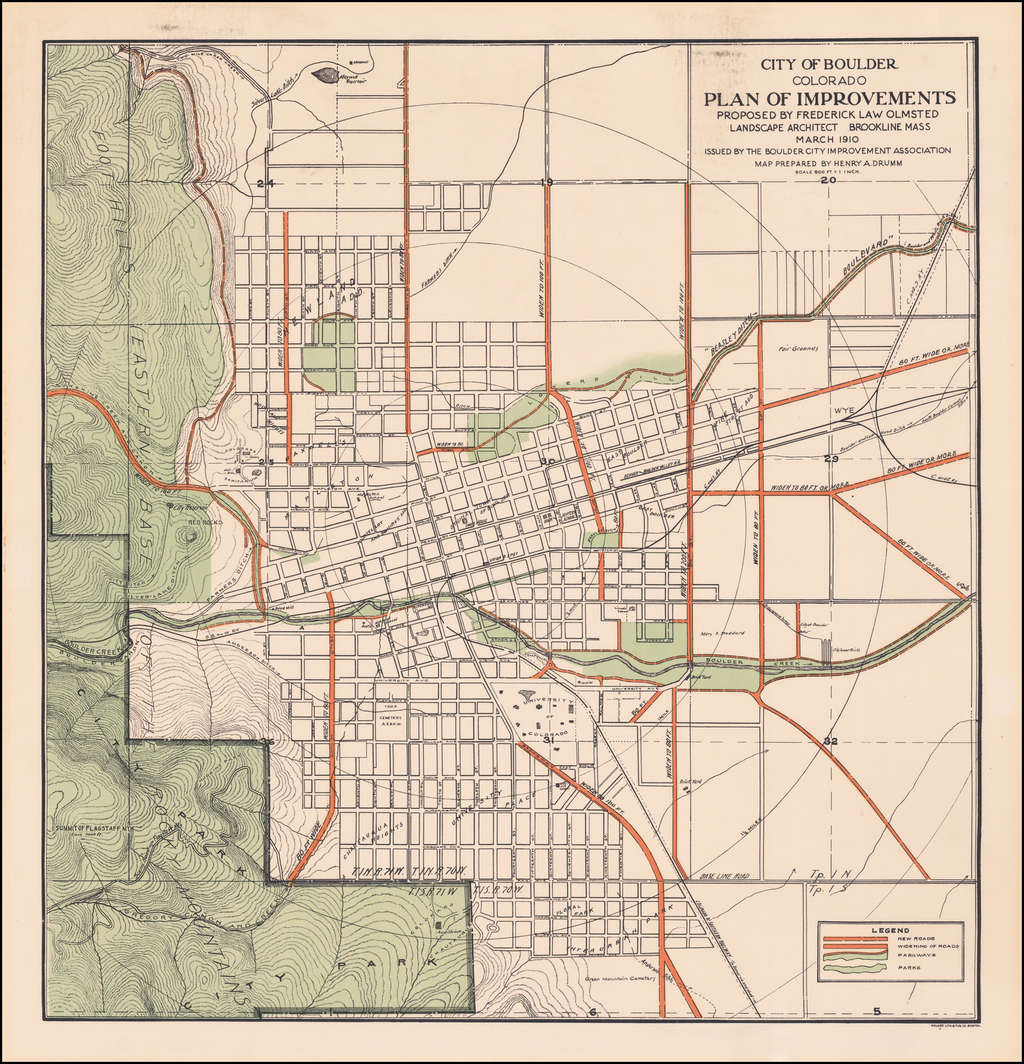 City of Boulder Colorado Plan of Improvements Proposed By Frederick Law Olmsted Landscape Architect Brookline Mass March 1910 . . .  By Frederick Law  Olmsted / Henry  A. Drumm