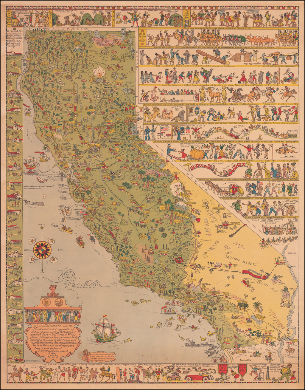 California. This whimsical Carte of Topographic and Historic intention, depicting that fabled Isle of Montalvo's dream ~ the El Dorado of '49 ~ the glorious California we know and love . . .  By Jo Mora
