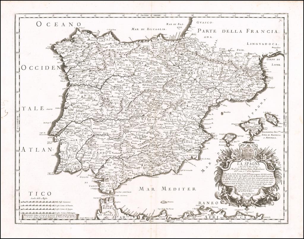 La Spagna . . . 1677 (with Balearic Islands) By Giacomo Giovanni Rossi - Giacomo Cantelli da Vignola