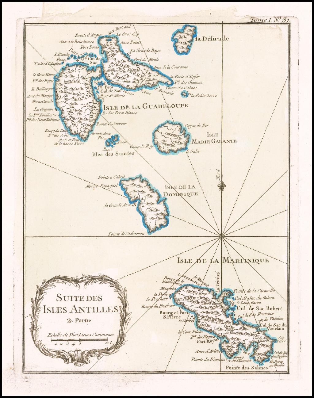 [Martinique, Guadaloupe, Dominica and Marie Galante] . Suite des Isles Antilles 2. Partie By Jacques Nicolas Bellin