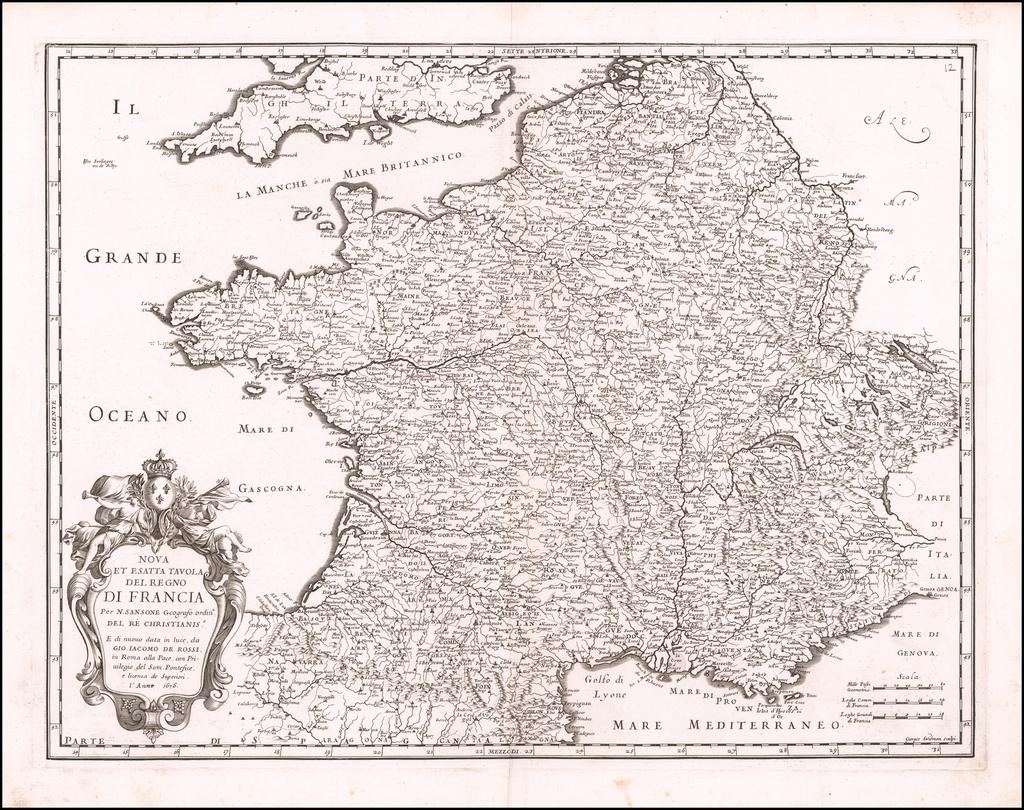 Nova et Esatta Tavola Del Regno Di Francia . . . 1676 By Giacomo Giovanni Rossi