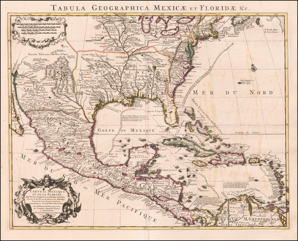 Carte Du Mexique et de la Floride des Terres Angloises et des Isles Antilles du Cours et des Environs de la Riviere Mississipi . . . 1722  By Johannes Covens  &  Cornelis Mortier