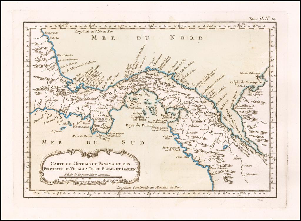 Carte de L'Isthme de Panama et des Provinces de Veragua Terre Ferme et Darien By Jacques Nicolas Bellin