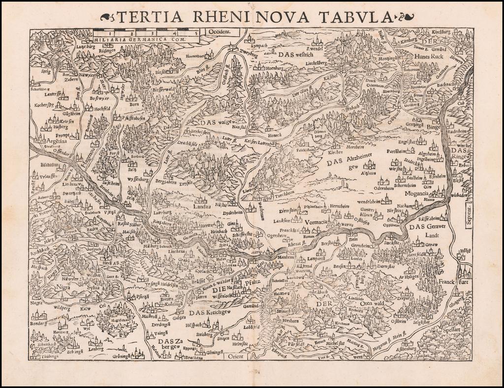 Tertia Rheni Nova Tabula By Sebastian Münster