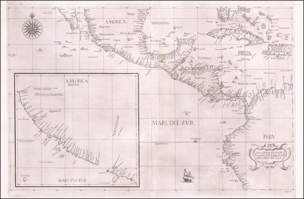 Carta prima Generale d'America dell India Occidentale e mare de Zur By Robert Dudley