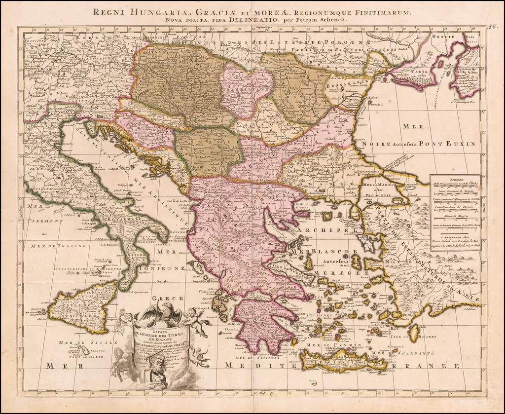 Estats de L'Empire des Turqs en Europe, Subdivisee Suivant l'Academie des Beglerbeglicz our Gouvernements . . .  By Peter Schenk