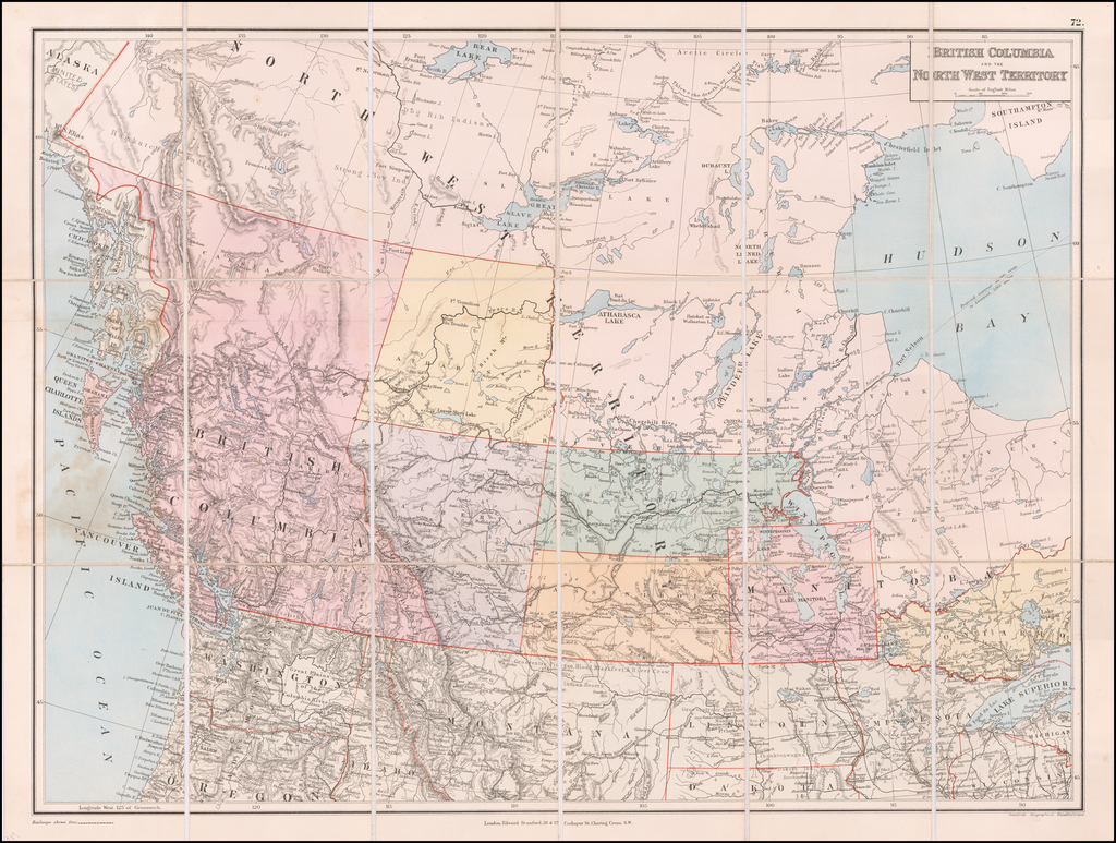 [State of Lincoln!]  British Columbia and the North West Territory By Edward Stanford
