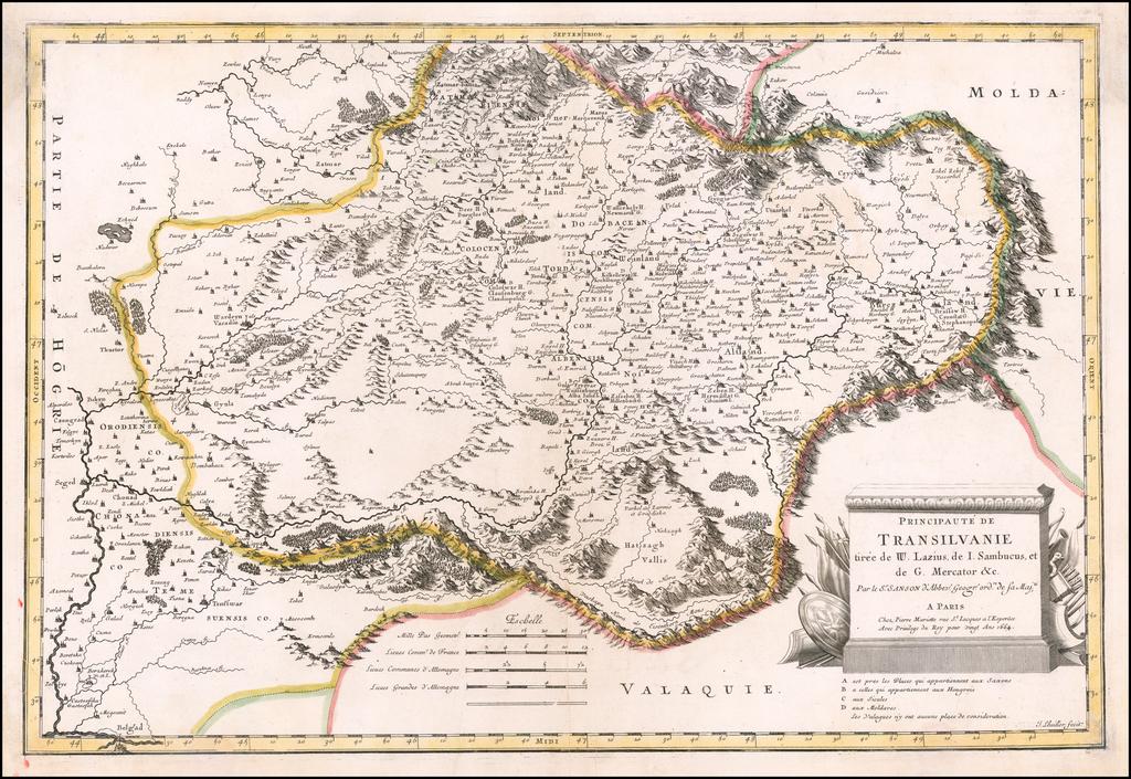 Principaute de Transilvanie tiree de W. Lazius, de I Sambucus, et de G. Mercator &c.  . . . 1664 By Nicolas Sanson