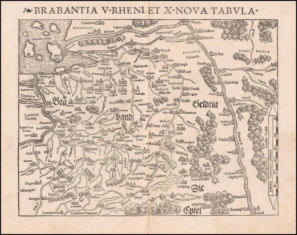 Brabantia V Rheni Et X Nova Tabula By Sebastian Münster