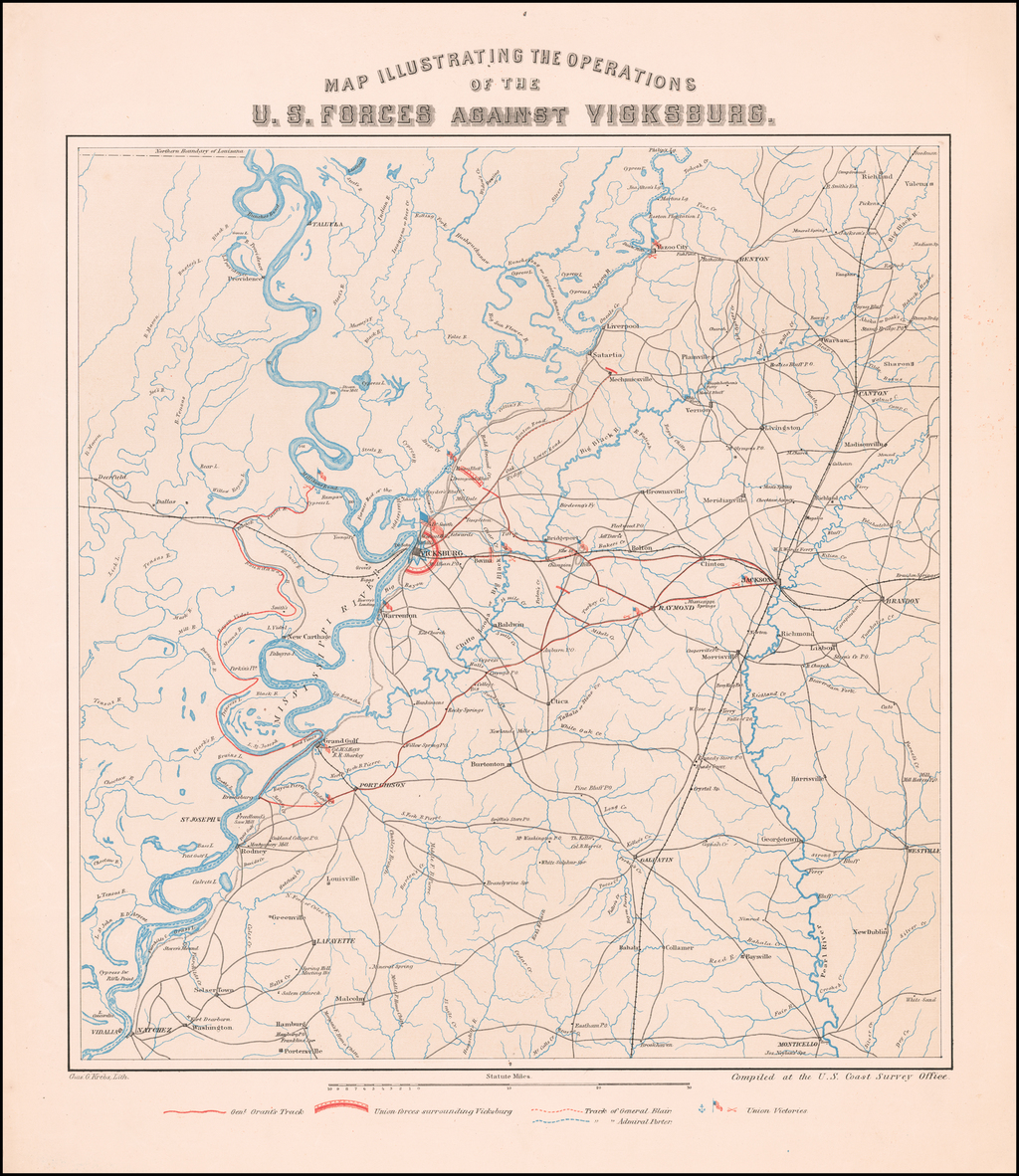 Map Illustrating The Operations of the U.S. Forces Against Vicksburg. By Charles G. Krebs