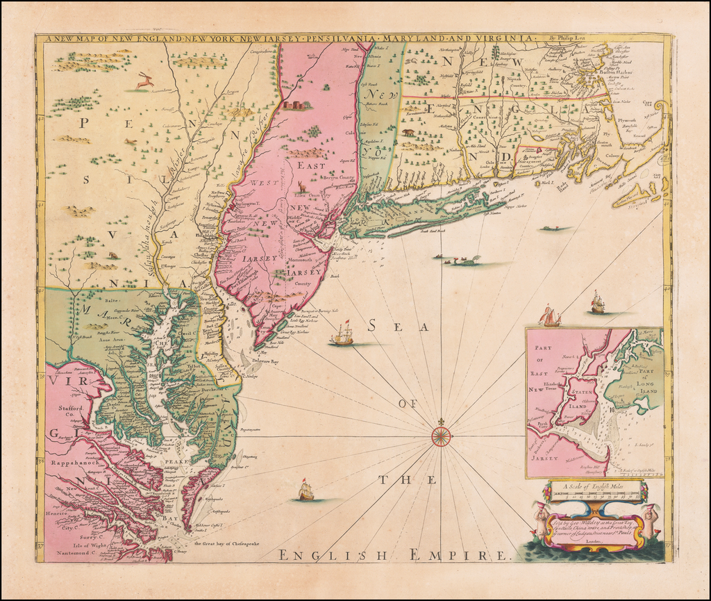 New England, New York City, New York State, Mid-Atlantic and Southeast Map By Robert Morden / Philip Lea / George Willdey / John Thornton