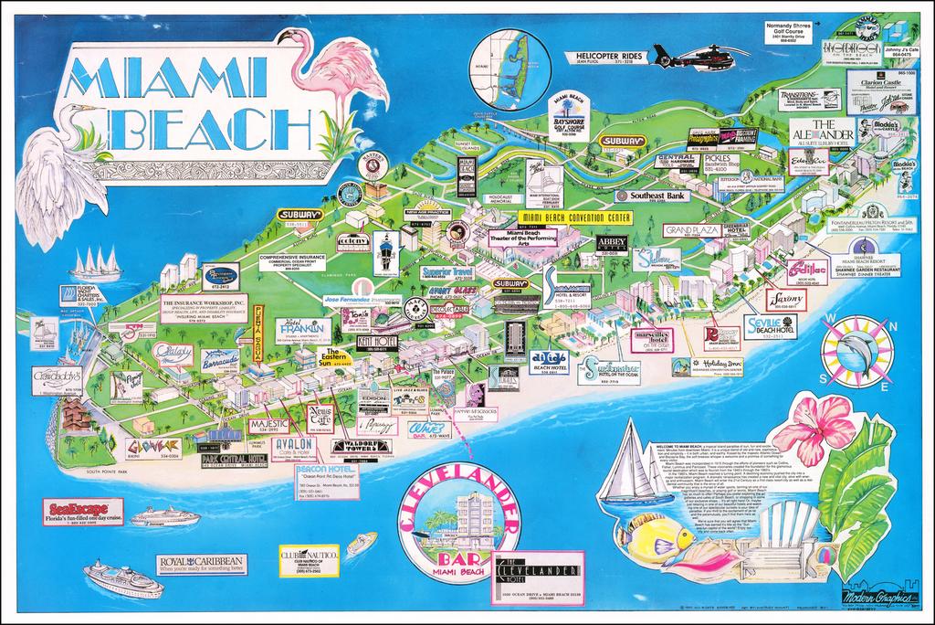 miami beach shopping map Miami Beach Barry Lawrence Ruderman Antique Maps Inc miami beach shopping map